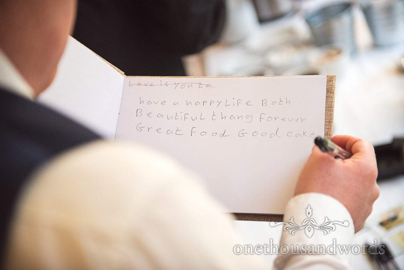 Beautiful wedding message in wedding guest book by bride's new brother