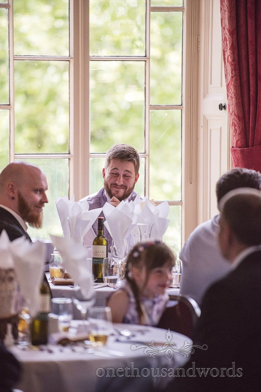 Best Man laughs at groom's wedding speech at Upton House wedding