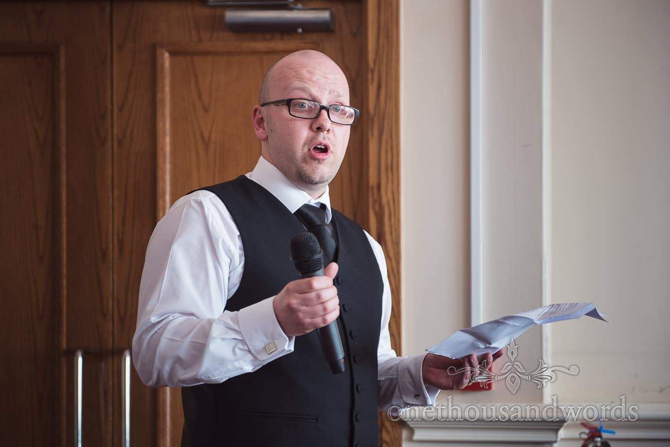 Best man's speech at black and white themed wedding at Haven Hotel