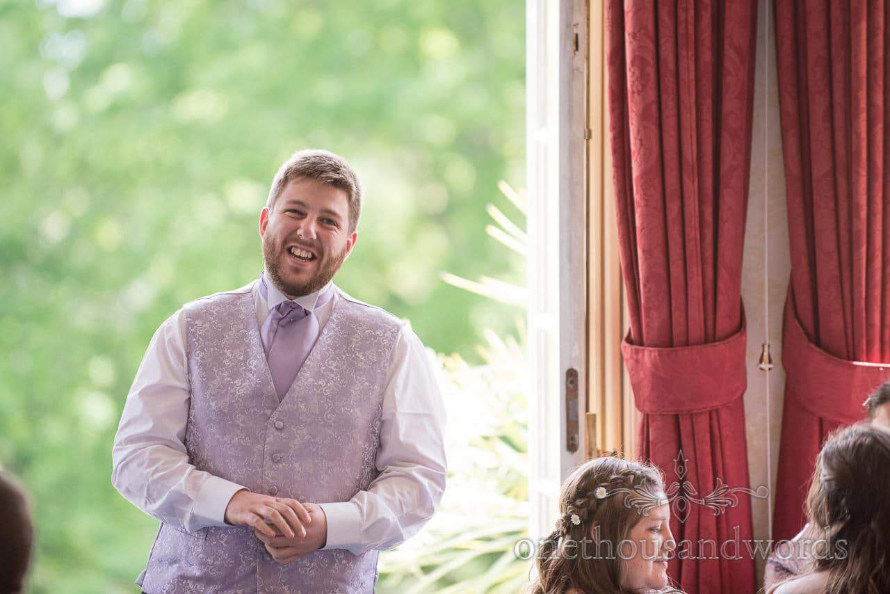 Best Man's speech photograph at Upton Country House wedding in Poole, Dorset