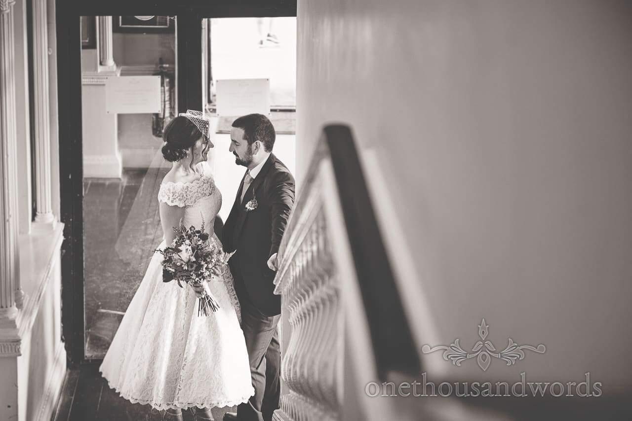 Black and white Greenwich wedding photographs of bride and groom at Trafalgar Tavern