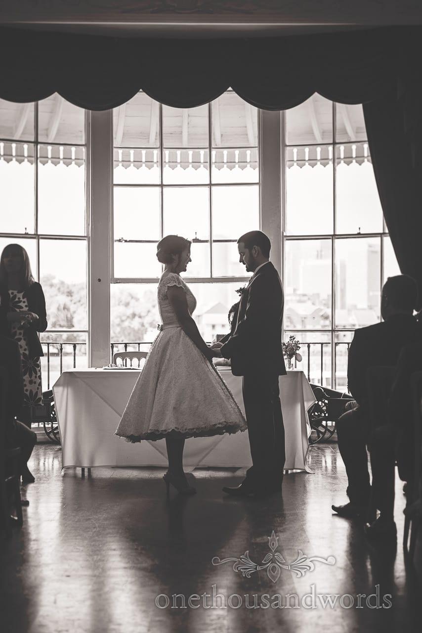 Black and white Greenwich Wedding Photographs of Trafalgar Tavern wedding ceremony
