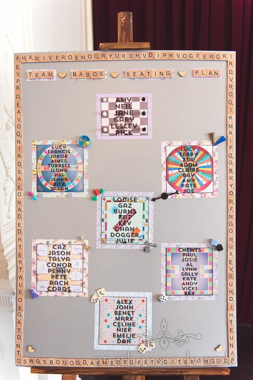 Board game themed wedding table plan with scrabble tile boarder