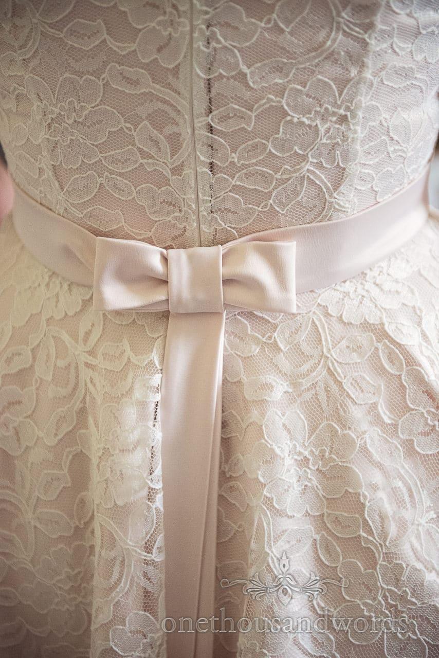 Bow wedding dress detail from Greenwich wedding photographs
