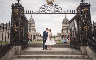 Greenwich wedding photographs at Trafalgar Tavern with Amy & Neil