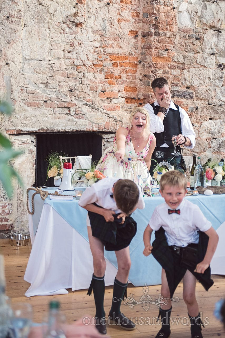 Bride and groom shock reactions to child wedding guests decorated underwear