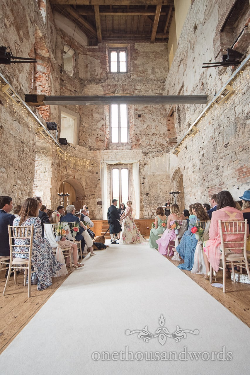 Civil weddign ceremony photograph in Lulworth Castle wedding venue in Dorset