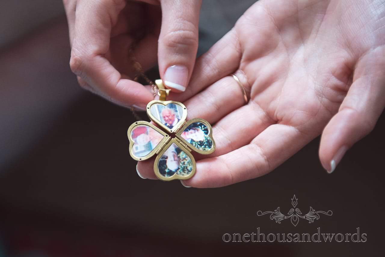 Clover leafed heart shaped photo pendent from Greenwich wedding photographs