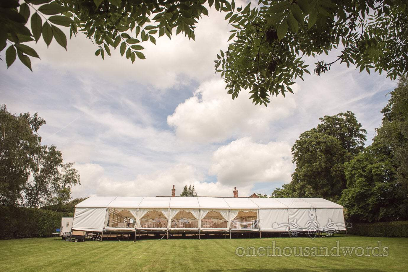 Country wedding marquee in grounds of country house in Leicestershire