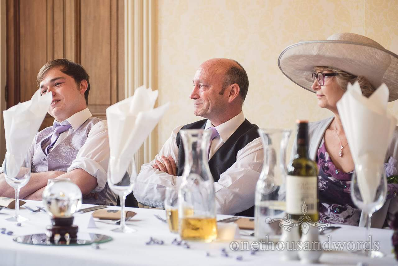 Father of bride cries during wedding speeches at Upton House, Poole wedding venue