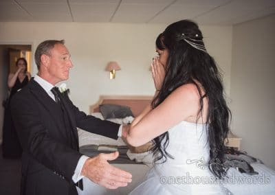 Father of bride sees bride for first time on Rock and Roll wedding morning