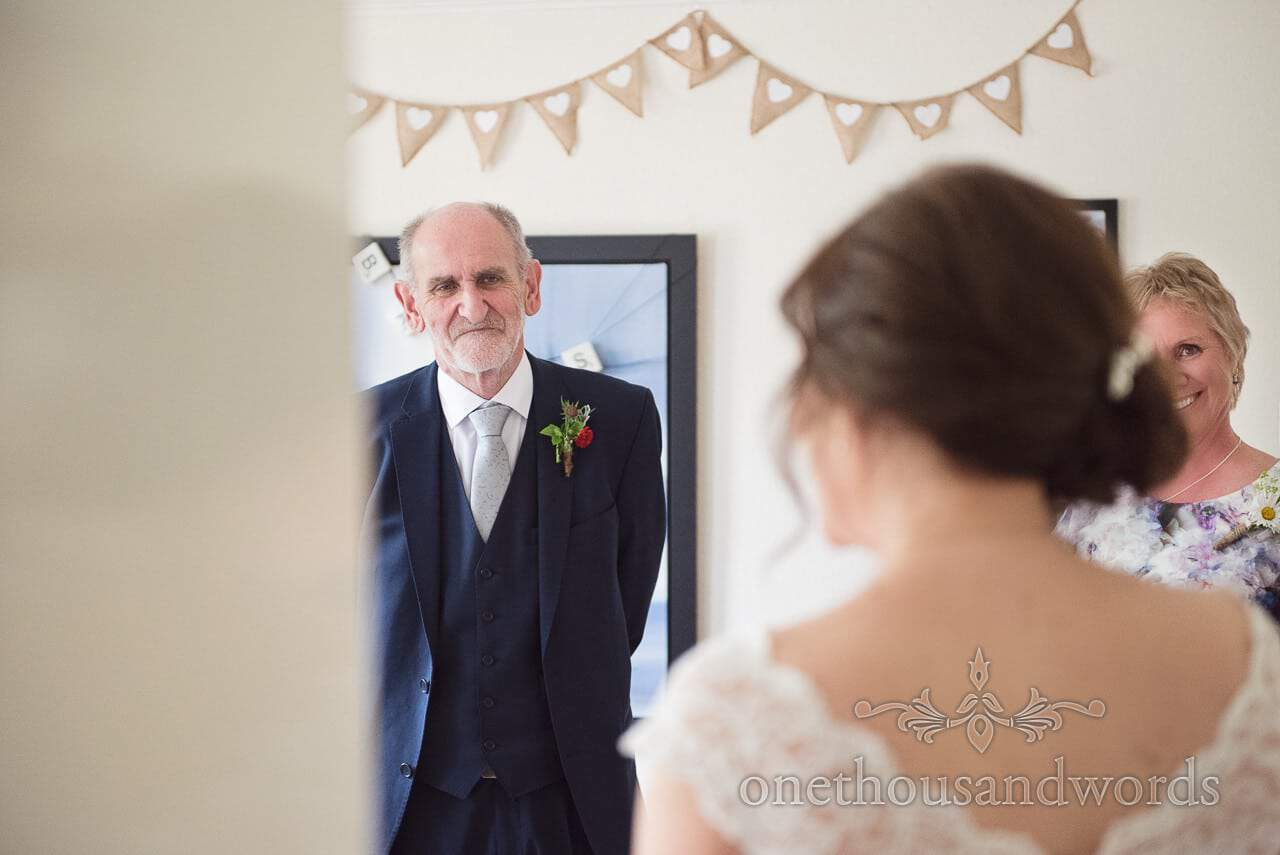 Father sees the bride in her dress from Greenwich wedding photographs
