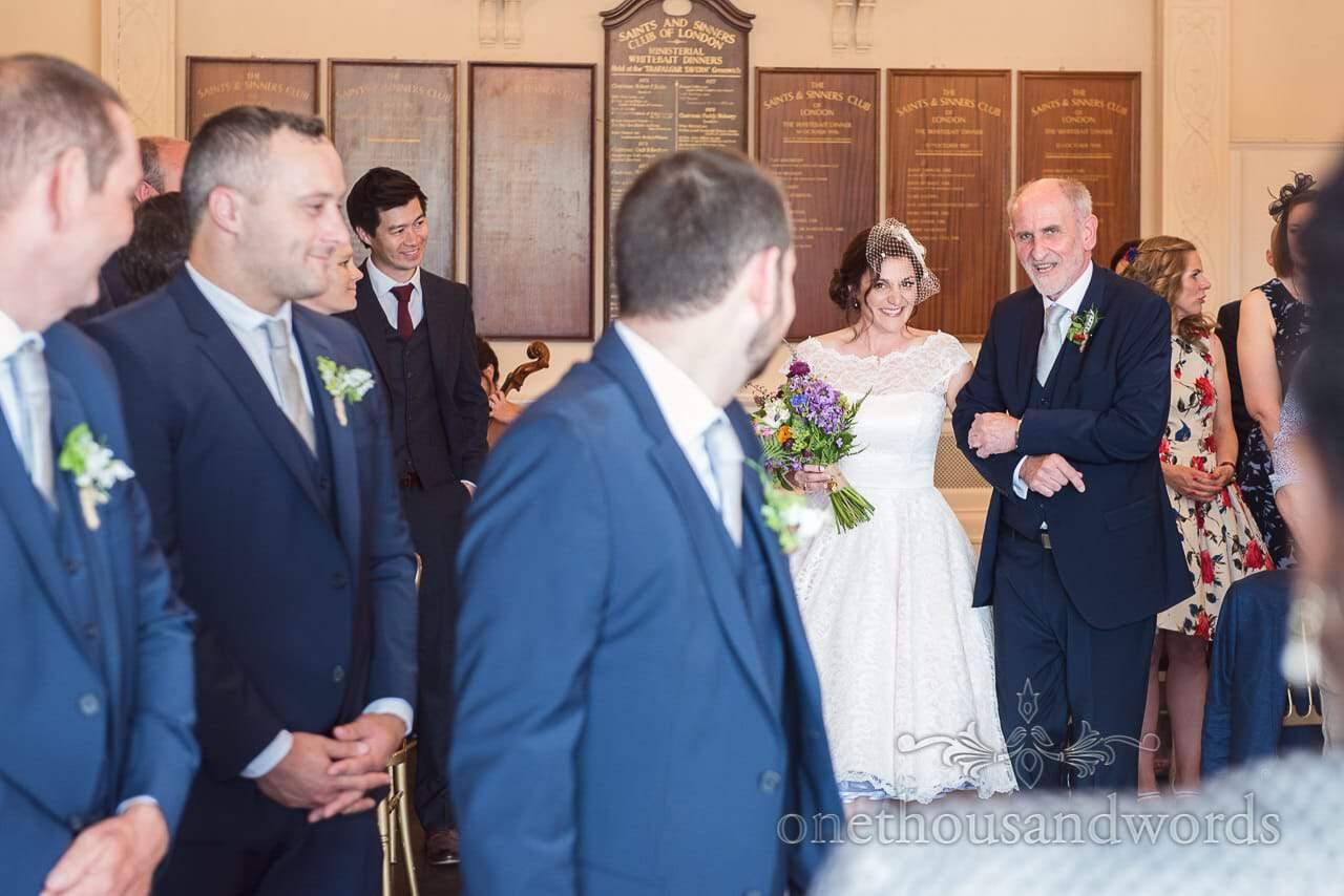 First look photograph at Trafalgar Tavern Greenwich wedding photographs