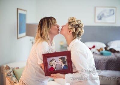 Framed photograph recreated on wedding morning