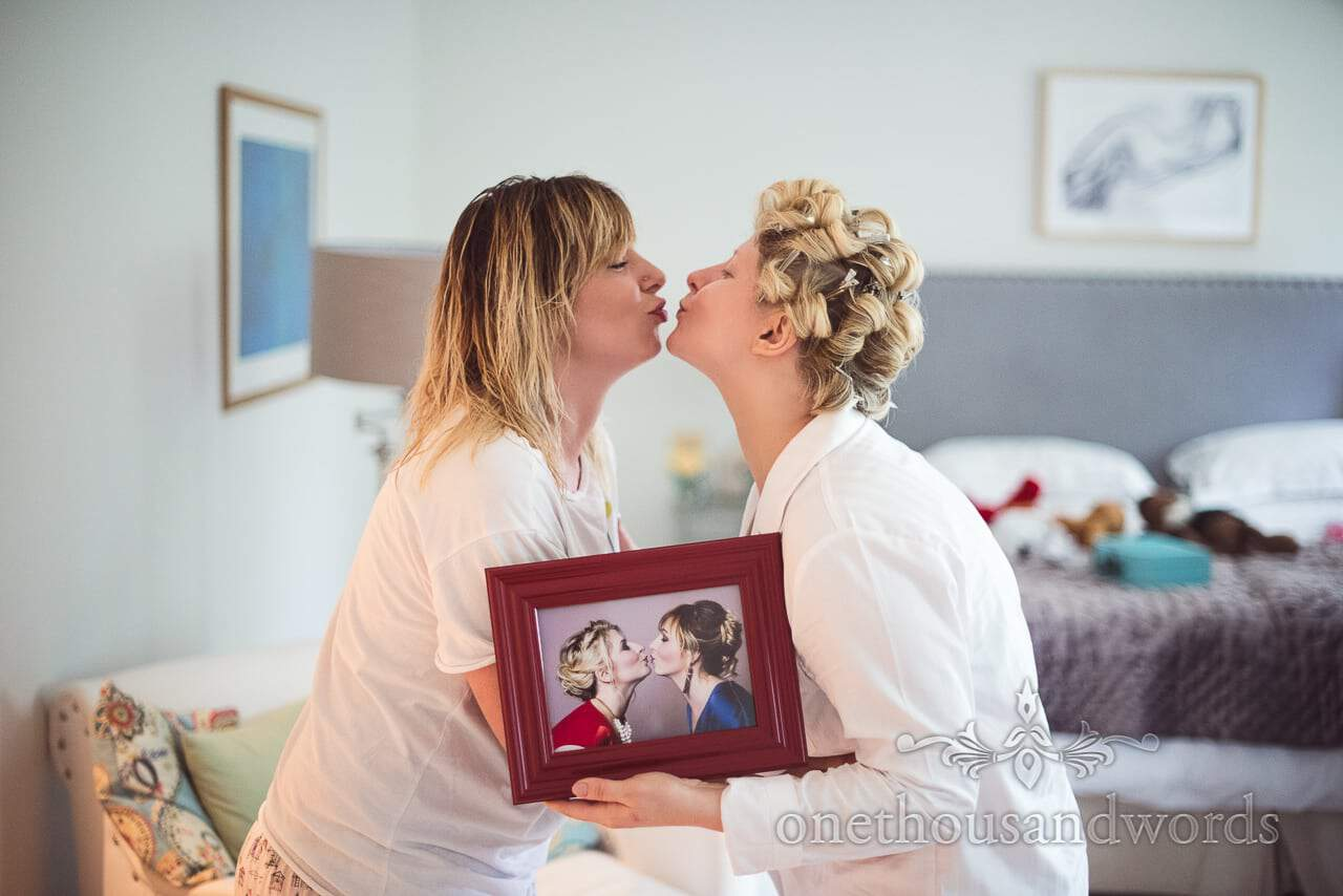 Framed photograph recreated on wedding morning