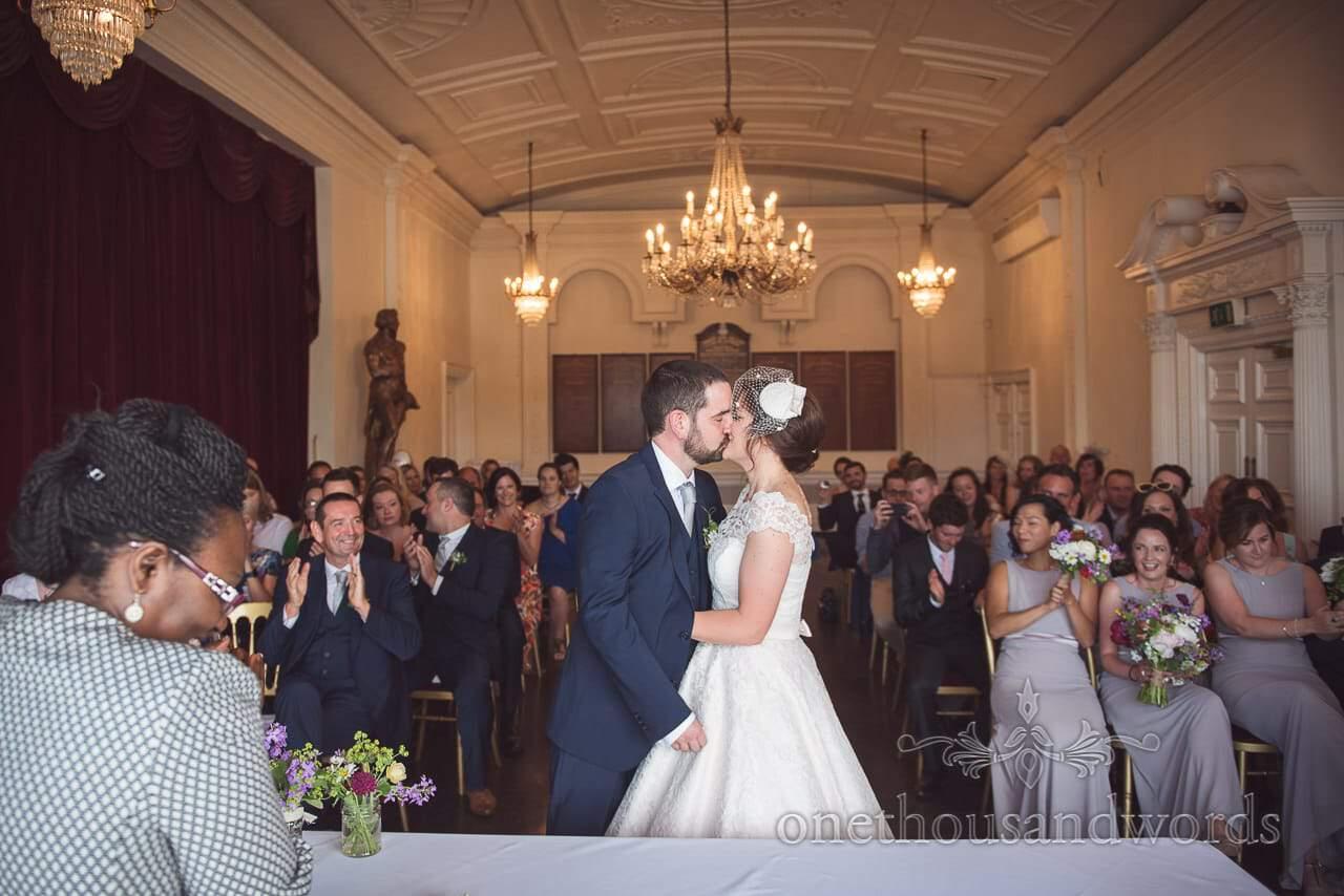 Greenwich Wedding Photographs of first kiss at Trafalgar Tavern wedding ceremony