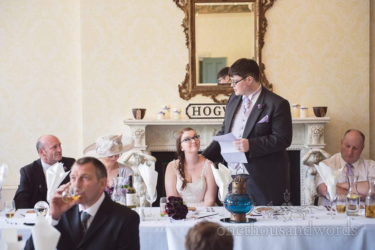 Groom's wedding speech at Upton Park wedding in Poole, Dorset