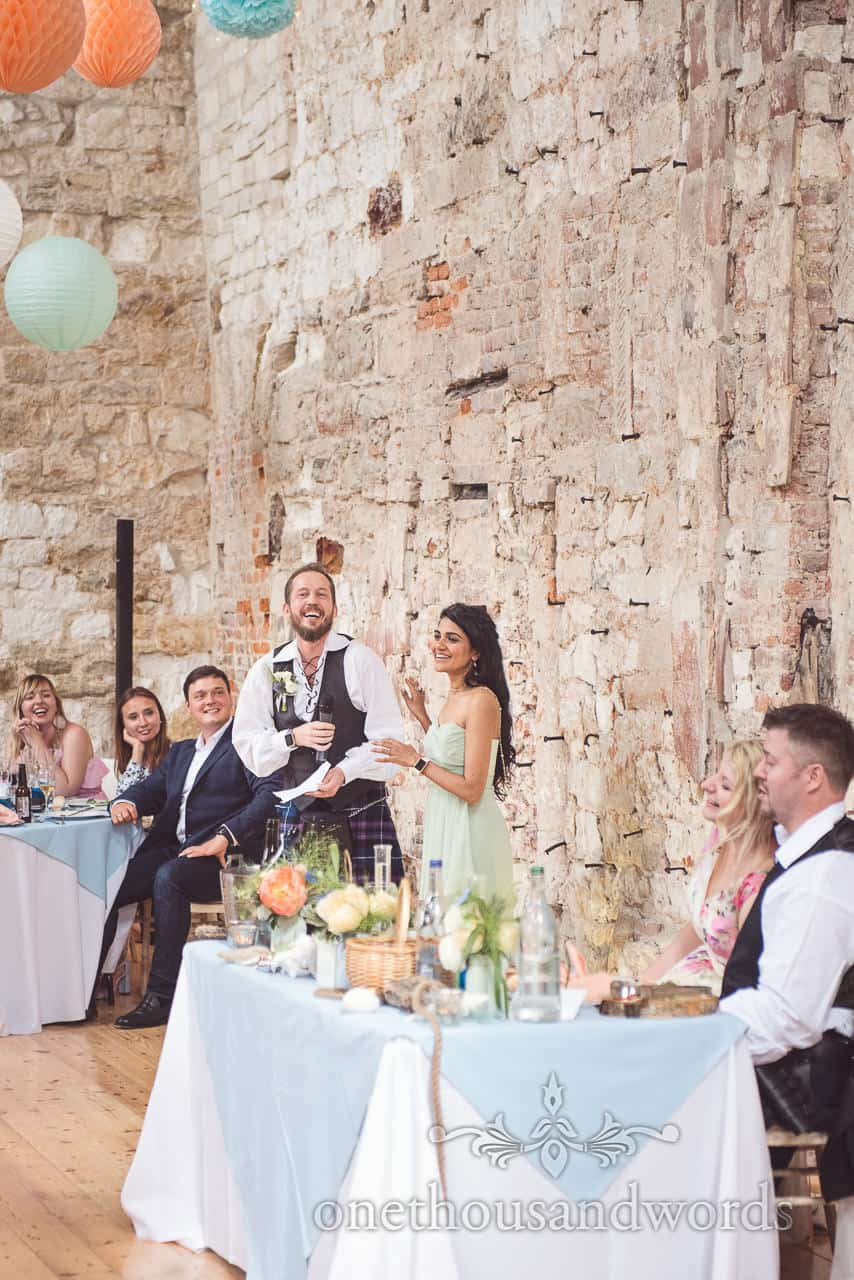 Groomsman and bridesmaid wedding speech at Lulworth Castle wedding breakfast