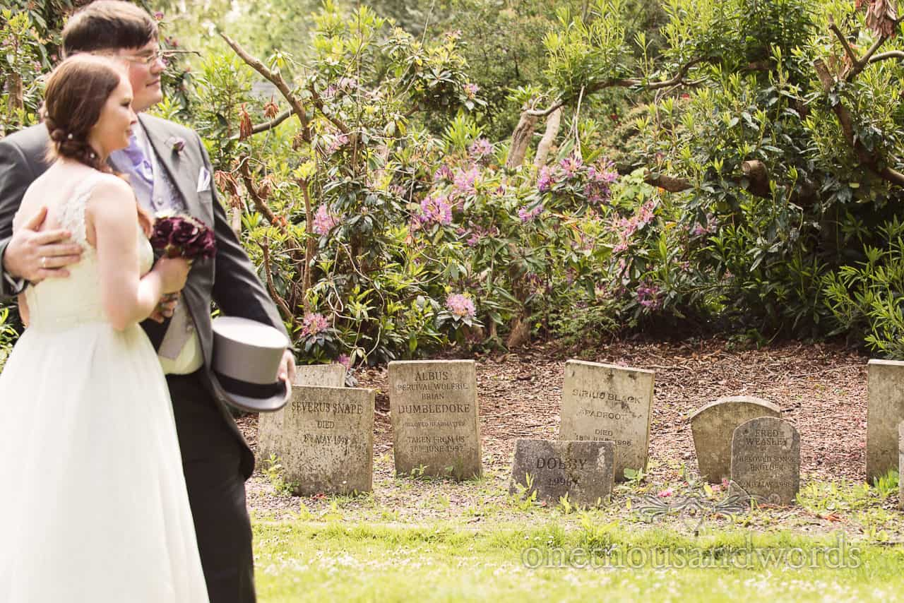 Harry Potter Wedding grave stones at Upton Country park wedding venue