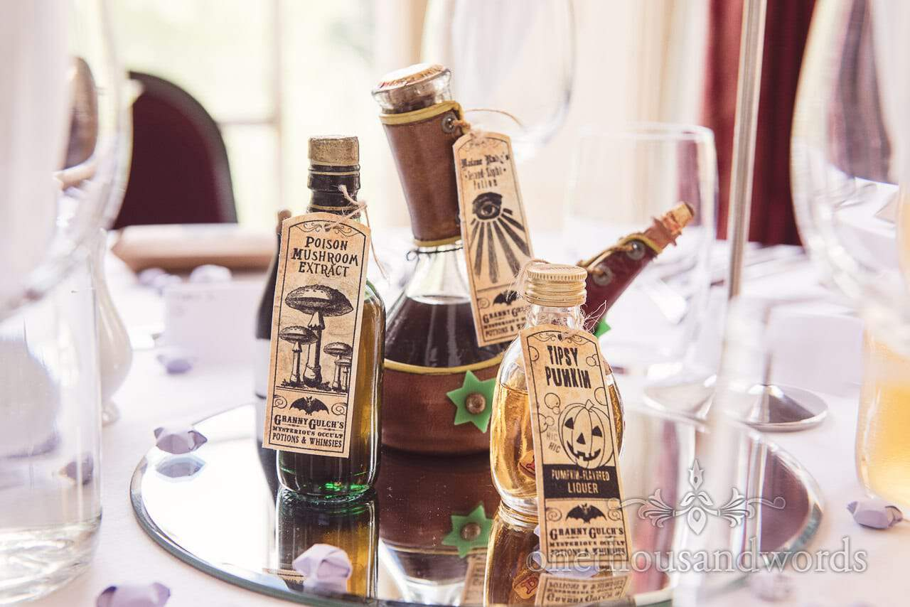Harry Potter Wedding home made potion ingredients table decorations
