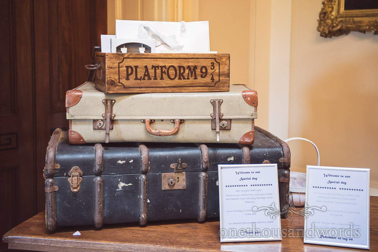 Harry Potter Wedding Platform 9 3/4 card box with retro suitcases