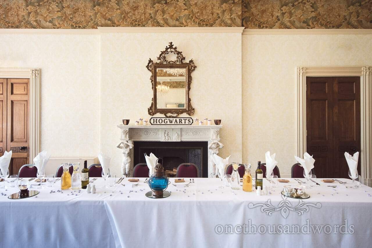 Harry Potter Wedding Top Table at Upton House with Hogwarts sign