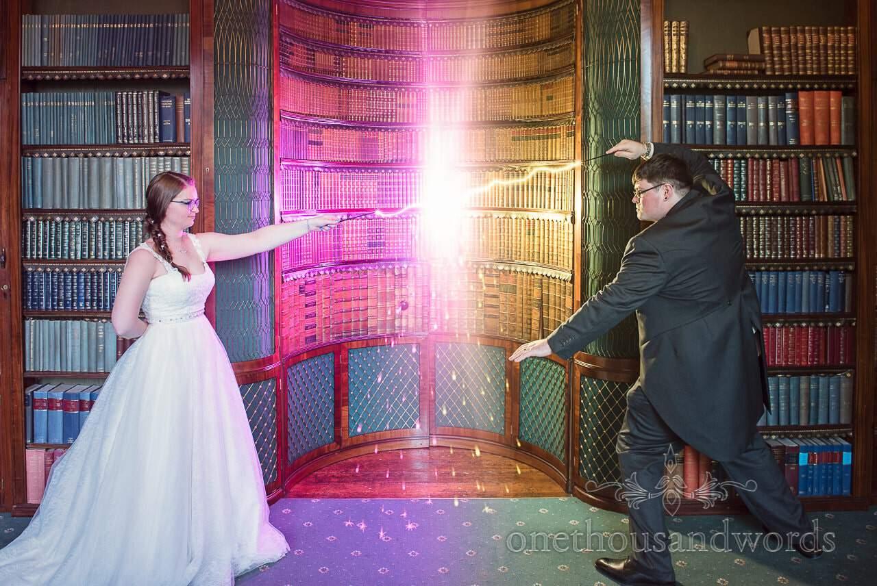 Harry Potter Wedding wand battle between bride and groom