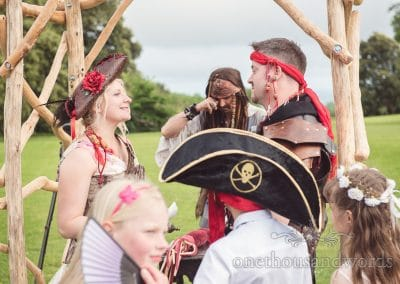 Jack Sparrow cries at outdoor pirate themed wedding ceremony in Dorset