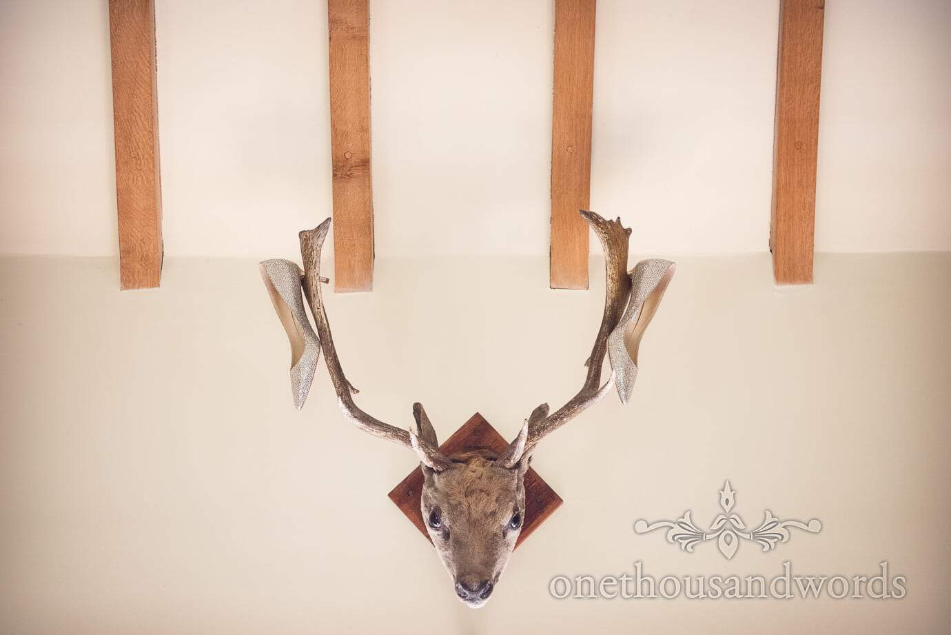 Jimmy Choo custom made Silver Bridal shoes hanging on deer antlers at country wedding