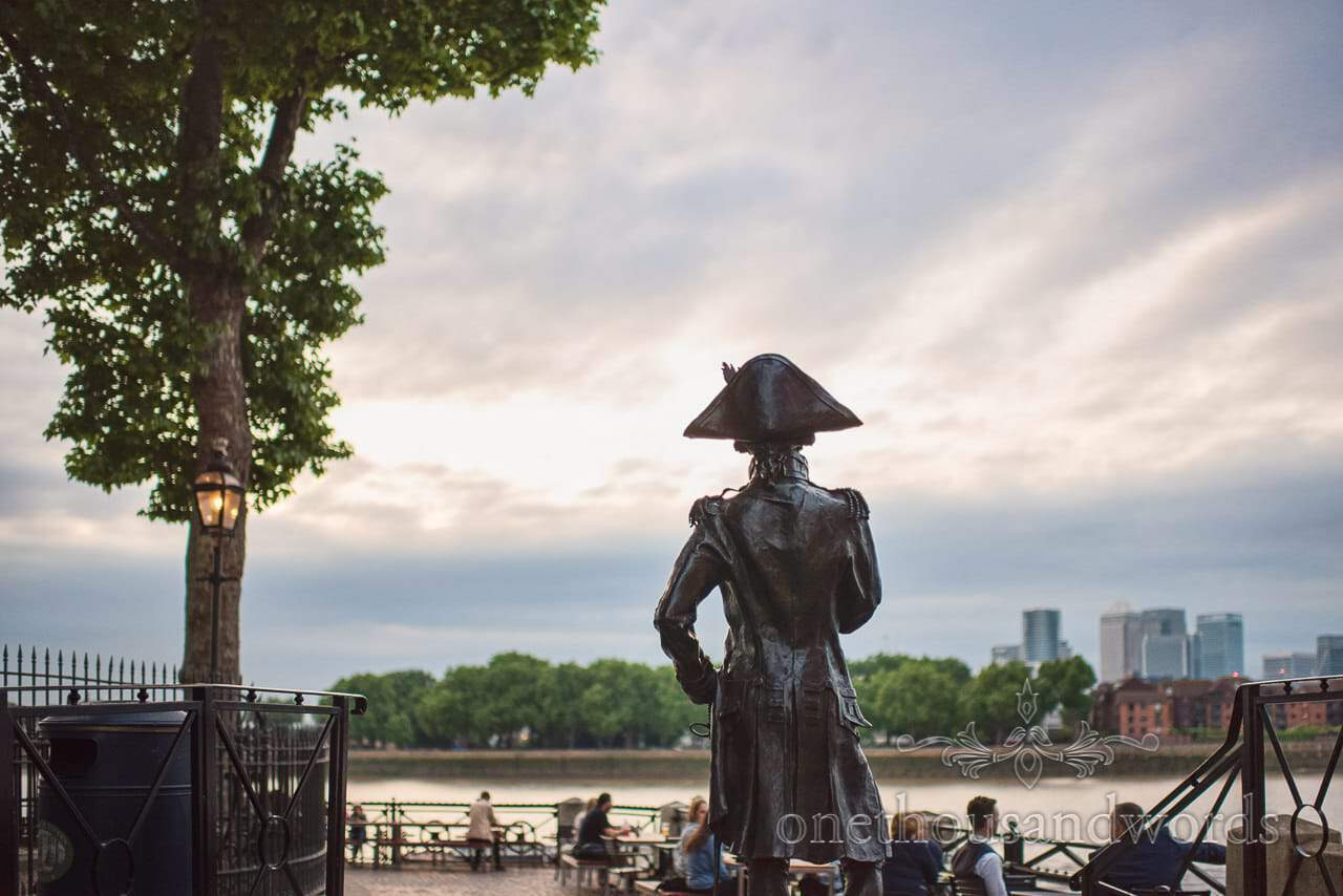 Lord Nelson Statue looks over the Thames next to Trafalgar Tavern Wedding venue Greenwich