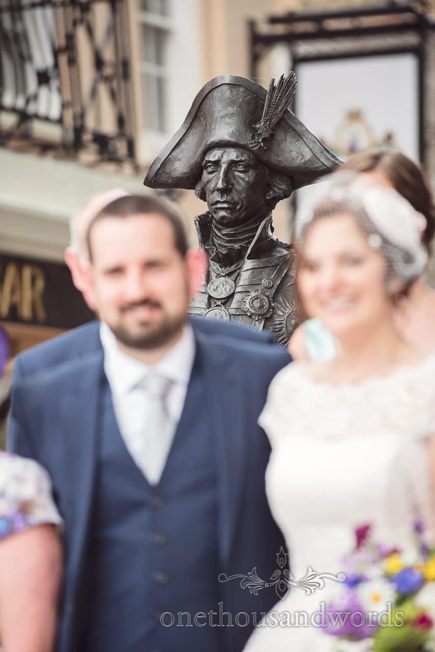 Lord Nelson statue outside Trafalgar Tavern at Greenwich wedding group photographs