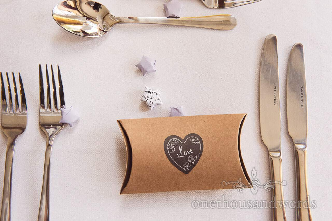 Love heart box wedding favours place setting with book page paper stars