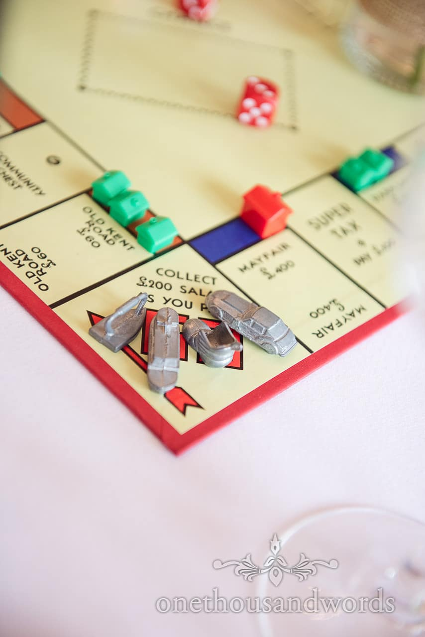 Monopoly at board game themed wedding table plan photograph