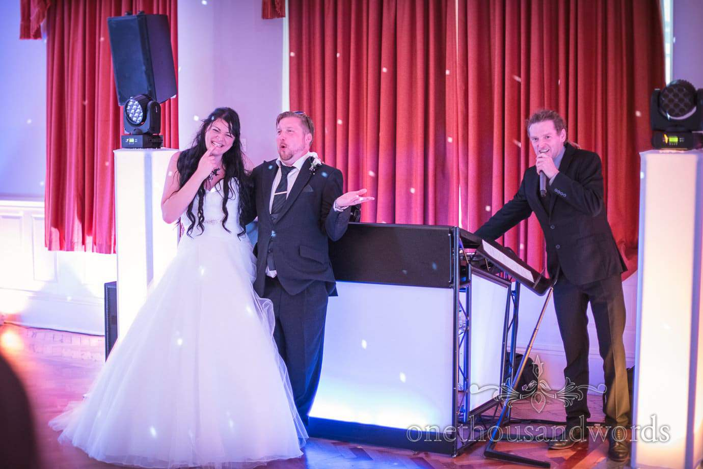 Mr and Mrs quiz at Black and White themed rock and roll wedding at Haven Hotel