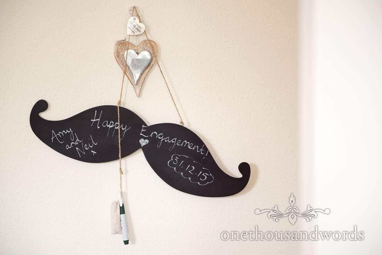 Mustache chalkboard sign from Greenwich wedding photographs