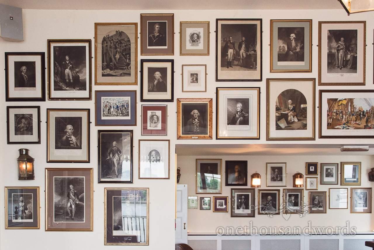 Old naval photography on the wall at Trafalgar Tavern Wedding venue in Greenwich
