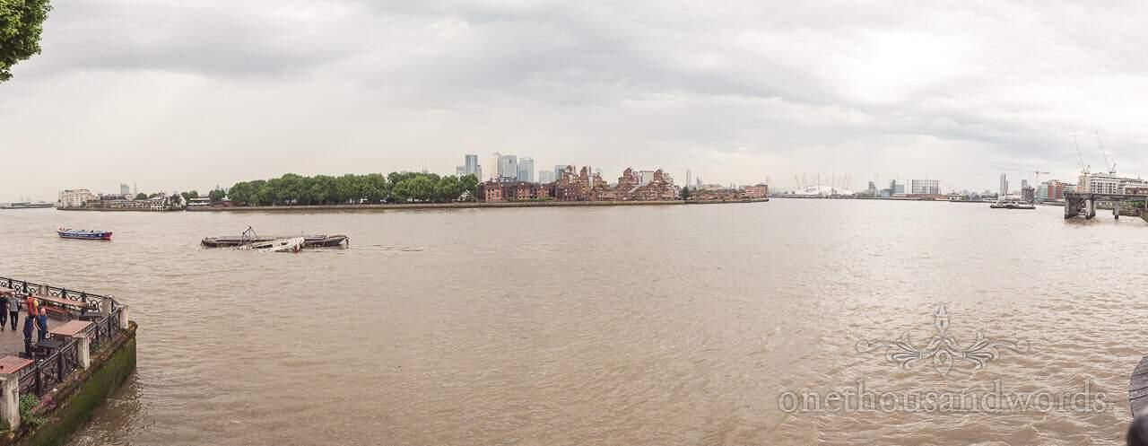 Panoramic photograph of the Thames taken from Trafalgar Tavern Wedding venue