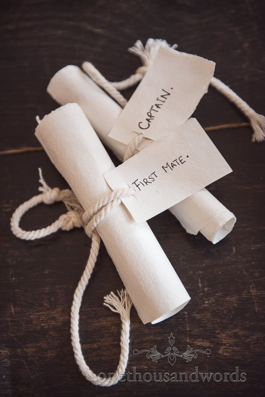 Pirate Themed Wedding vows labelled as first mate and captain scrolls