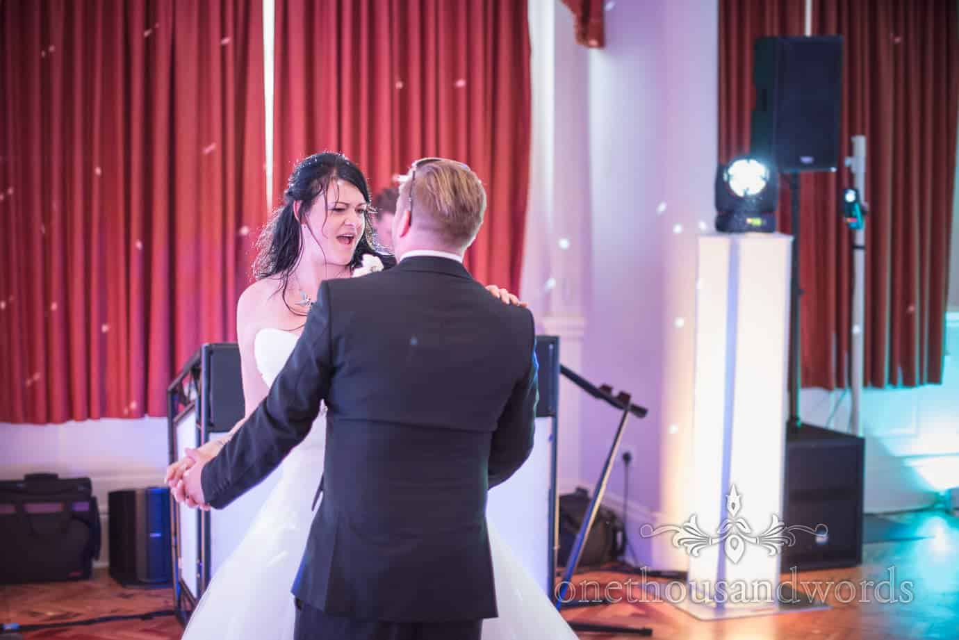 Rock and Roll themed wedding first dance photograph at Haven Hotel Poole