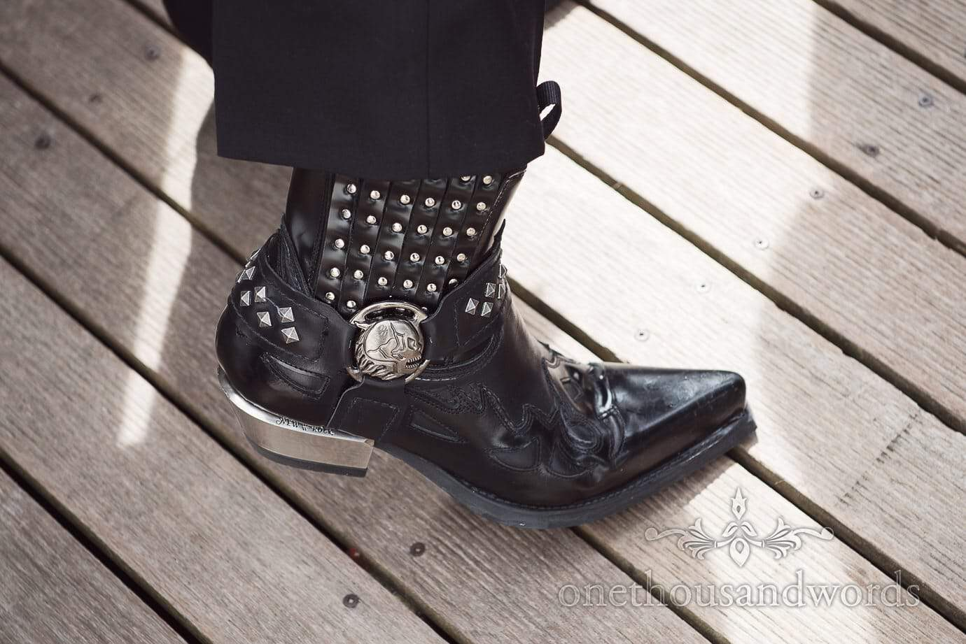 Rock and Roll wedding black New Rock Black Ankle Boots Western Goth Strap Skull Stud Metal