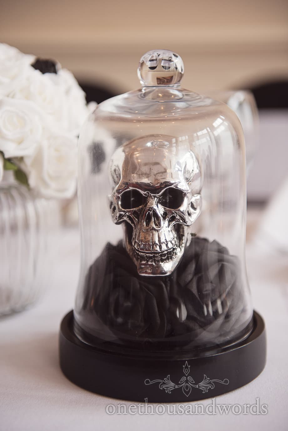 Rock and Roll Wedding decoration silver skull in bell jar on black roses