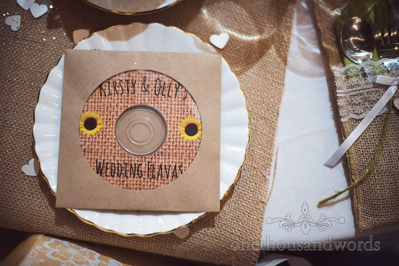 Rustic wedding favours 'wedding flavas' music CD with hessian and sunflower picture at rustic wedding