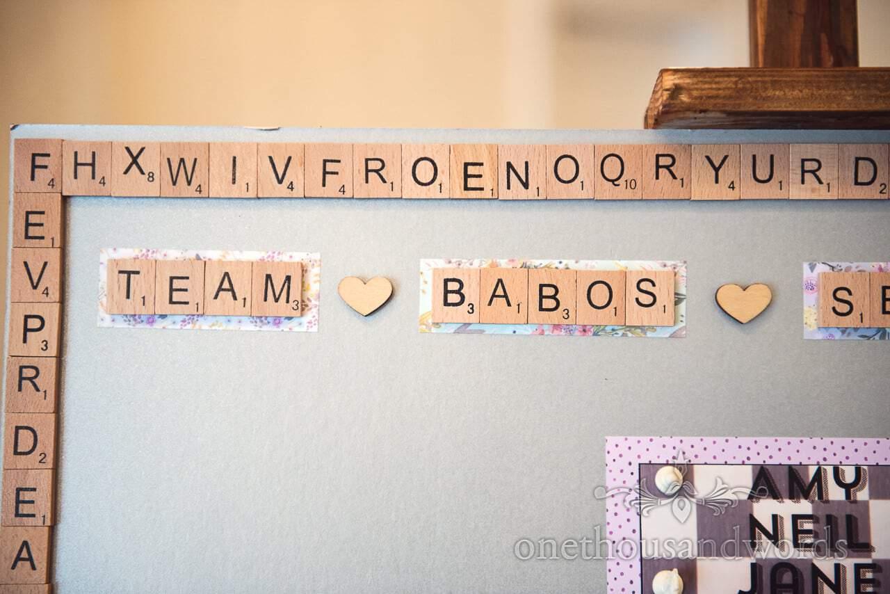 Scrabble tiles border on board game themed wedding table plan photograph