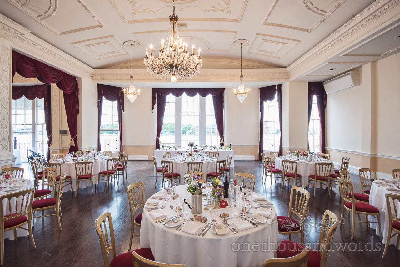 The Nelson Room set up for wedding breakfast at Trafalgar Tavern Greenwich wedding photographs