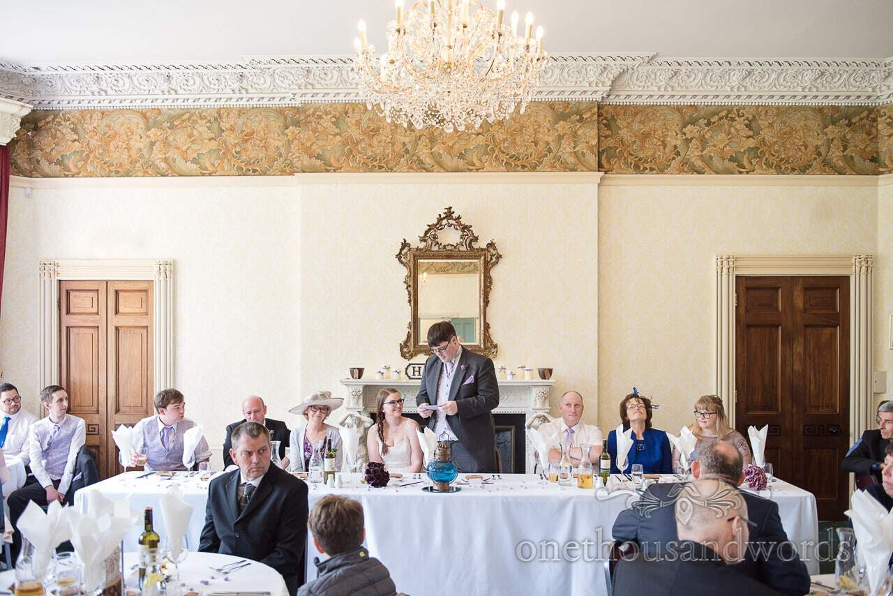 Top table at Upton House wedding during Groom's speech