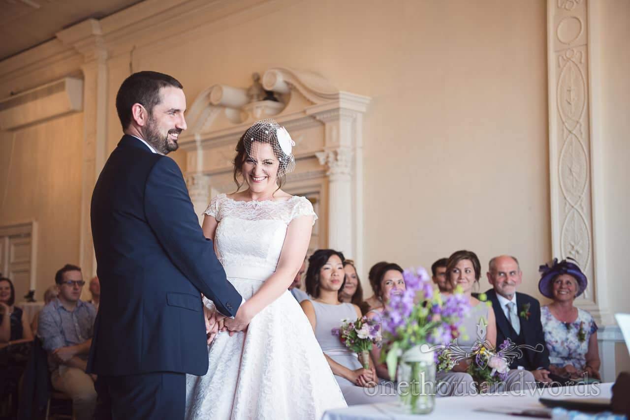 Trafalgar Tavern wedding venue in Greenwich wedding ceremony with bride and groom