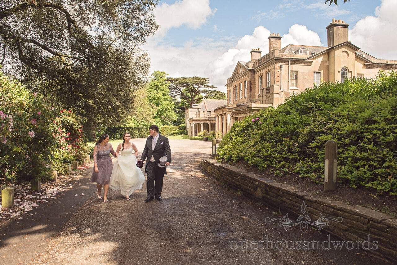 Upton House Country park wedding venue bride, groom and bridesmaid photo