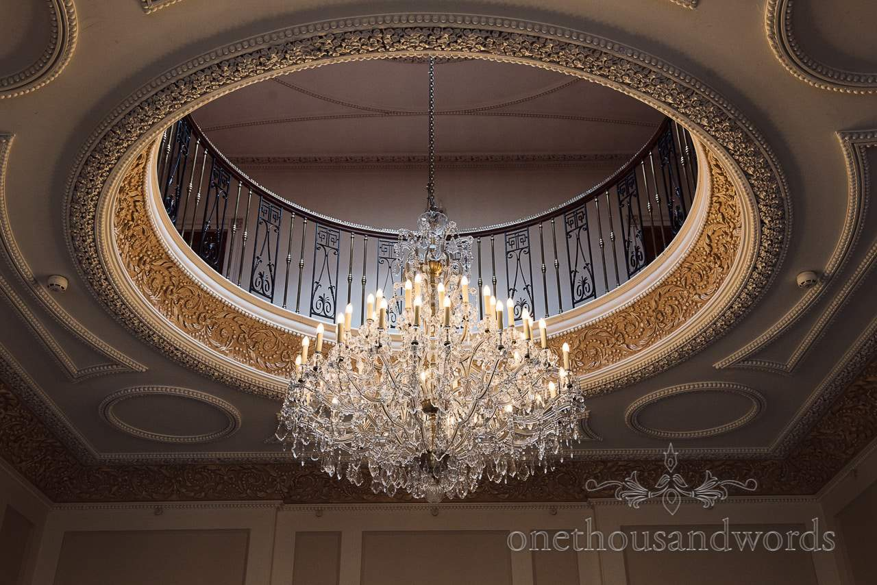 Upton House wedding venue ornamental roof and chandelier photograph