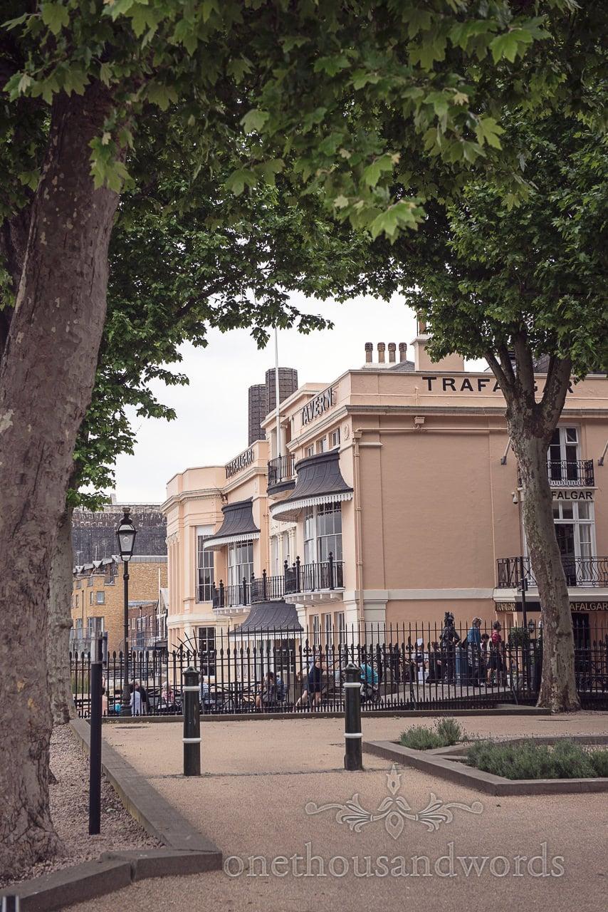 View of the Trafalgar Tavern Wedding venue exterior