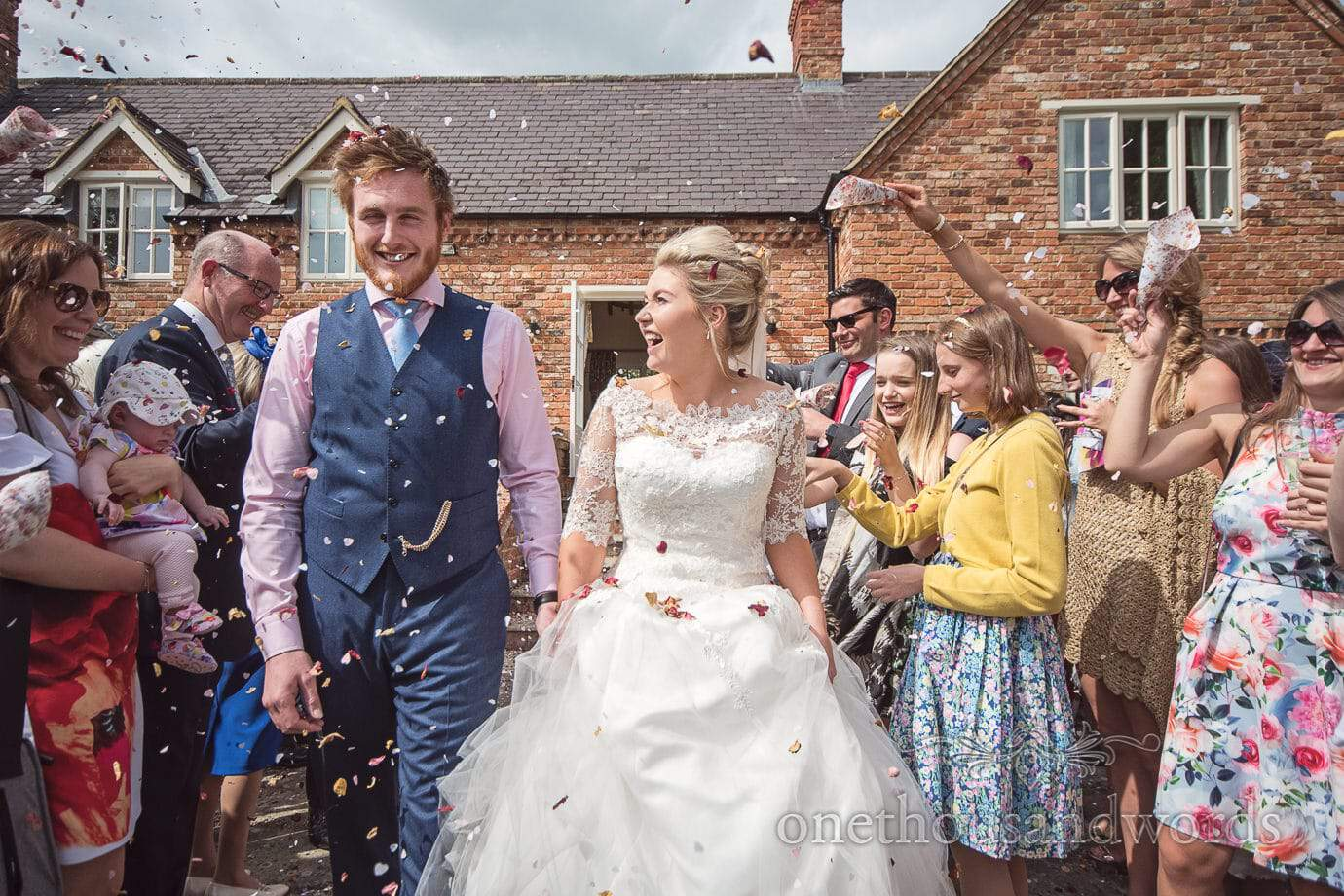 Wedding confetti photograph at country house wedding in Leicestershire
